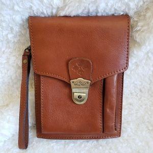 Patricia Nash Tan Leather Wristlet Clutch